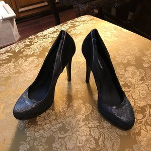 BCBGeneration Silver & Black Suede Heels 👠 Pumps